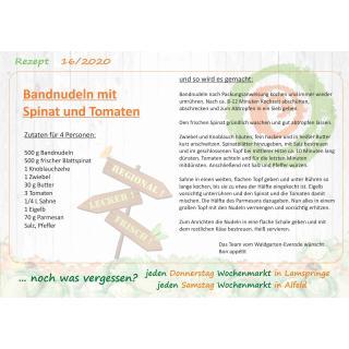 Rezept Bandnudeln mit Spinat und Tomaten